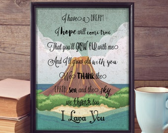 I Lava You Wall Hanging [Pixar Lava Short Lyrics Wall Decor] Digital Download Printable