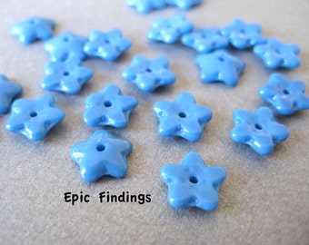 Sky Blue Flower Glass Bead Caps, Glass Spacer Beads, Jewelry Supply, Craft Supply, Epic Findings