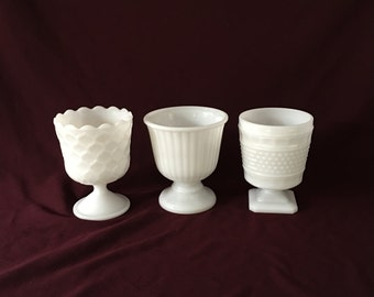 Milk Glass Planters | Set of Three | Ribbed, Diamond Quilted, Patterned | WEDDING DECOR