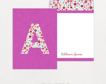 Personalized stationery. Fuschia Flowers. Personalized girl gift. 25 cards & envelopes