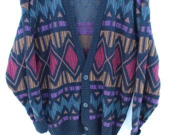 Men's LARGE Cardigan Sweater / Michael Gerald / Geometric Triangle Diamond Print Pattern / Colorful Bold / Chunky Knit / 80s 90s Funky Fresh
