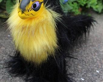 Black and Yellow Raptor Dragon OOAK Art Doll