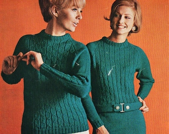 """Womens Knitted Dress Sweater Womens Knitting Pattern PDF Download Cable dress cable sweater Vintage 60s Retro 34-40"""" DK Light Worsted 8 ply"""