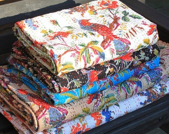 Bird Print Handmade Kantha Quilt / Throw/ Blanket from India boho/ hippie/ chic/ tribal / coverlet/ birthday/ anniversary/housewarming/xmas