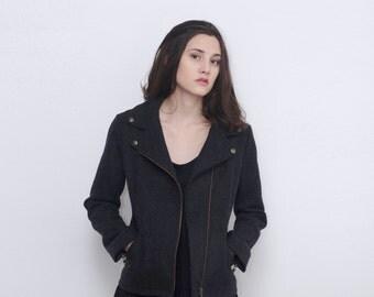 Moto Jacket , Black Jacket , Wool Blazer , winter jacket , custom made coat , Original Tailored jacket