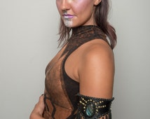 Priestess Arm Band .:. Labradorite & Leather Arm Band. Burner Fashion. Bohemian Fashion.
