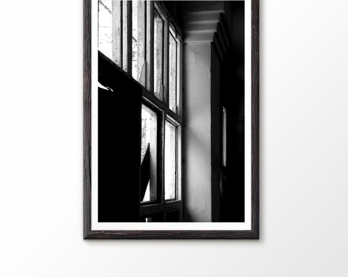 Photo printable art Black and White Print Geometric Decor Fine art photo Abandoned building Printable art Geometric print Architecture photo