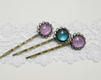 Bobby Pin, Purple Green Hair Pin, Violet Glitter Bobby Pin, Violetta Bronze Hair Clip, Hair accessories, Gift for Her, Cheap Gift, Vintage