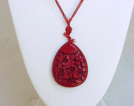 carved cinnabar necklace antique beaded by