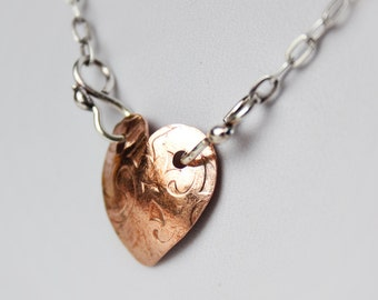 Mixed Metal Heart Pendant - Patterned Copper and Sterling Silver - Romantic Heart Pendant - Copper and Sterling Necklace