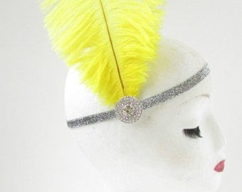 Yellow Ostrich Feather Headband Flapper 1920s Great Gatsby Vintage Headpiece Silver Z01