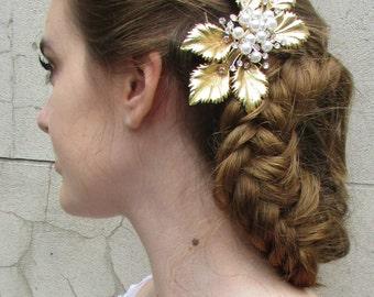 Gold Ivory Pearl Leaf Hair Clip Fascinator Headpiece Vintage Grecian Flapper U83