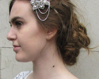 Silver Rhinestone Diamante Headband Bridal Headpiece Vintage 1920s Flapper B70
