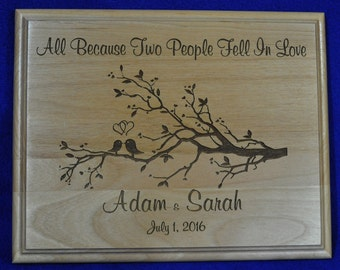 Wedding Gift ~ Gift For Couple ~ Personalized Wedding Gift ~ Engraved Sign ~ Family Tree ~ Gift For Bride and Groom ~ Made In USA ~ Love