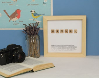 Baby gift, new baby gift, personalised Scrabble name and meaning picture, FRAMED