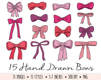 Bows Clip Art. Hand Drawn Pink and Red Bows. Doodle Ribbon Clip Art. Hand Drawn Digital Bows in Purple, Red, Pink. Valentines Day Clipart.
