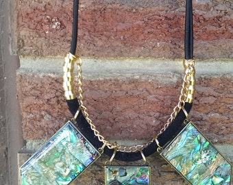 SALE!!! Statement Necklace Abalone Shell & Black Paracord