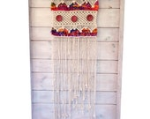 Macramé Weaving with Cranberry Buttons and Reclaimed Sari Silk Ribbon, Cranberry-Red-Orange Bohemian Chic Wall Hanging, Bohemian Wall Art