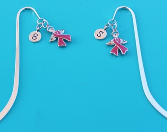 PINK AWARENESS RIBBON Angel  Bookmark,Initial or Number,Breast Cancer Patient,angel,Breast Cancer Survivor,Fight,115