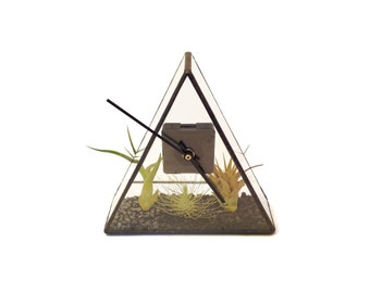 Stained Glass Terrarium Clock - 20cm x 20cm x 7cm - Air plant holder - Mothers Day - Valentines Day - Just for me