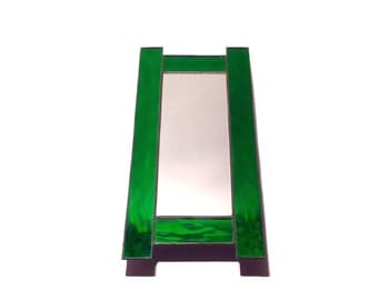 Stained Glass Mirror - Green H - 40cm x 19cm