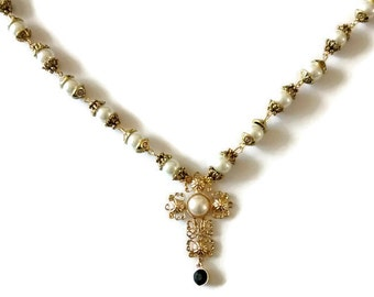 Pearl Cross Necklace, Cross Necklace, Pearl Cross Pendant, Cross Pendant, Anne Boleyn Necklace, Pearl Anne Boleyn