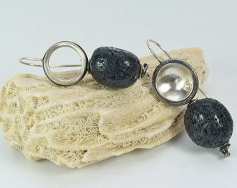 An odd pair. Lava rock nuggets and sterling silver.