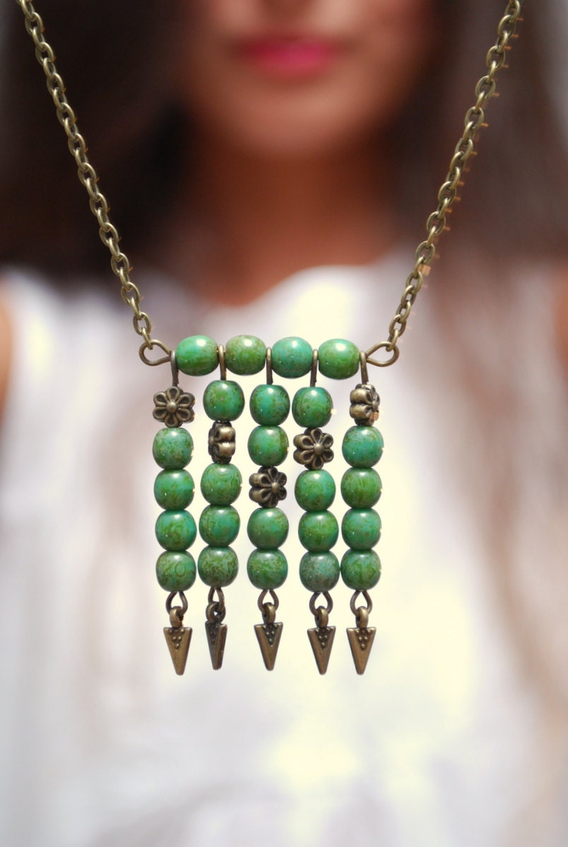 Greenery boho necklace green necklace tribal necklace arrow for Red black and green jewelry