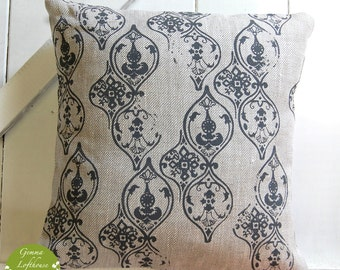 """Moroccan Inspired Pattern Hand-Printed Cushion - Greys/Linen 16""""x16"""""""