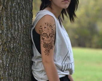 Temporary Tattoo - Large Skull, Floral, Tattoo Sleeve, Butterfly, Large Tattoo - NO. P04