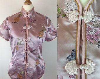 Vintage 90s Pink Chinese Cheongsam Silk Top Asian Blouse Frog Flower Golden Dragon Size 6- 8 UK