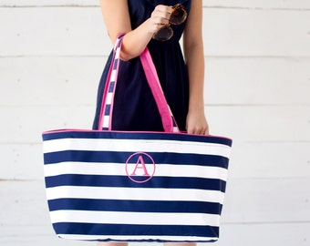 Monogrammed Tote, Navy and White Striped Tote, Beach Tote, Monogrammed Bag, Beach Bag, Personalized Gifts, Bridesmaid Gifts, Weddings