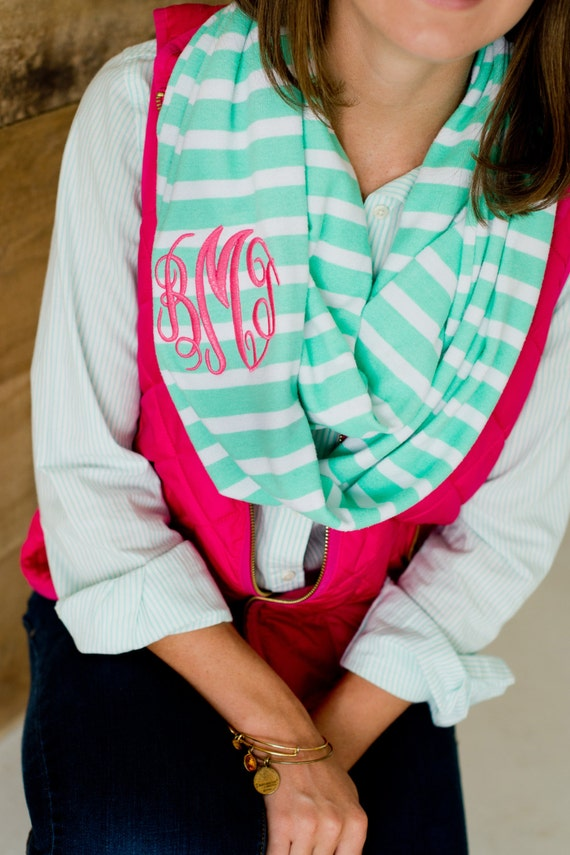 ON SALE Monogrammed Scarf, Striped Scarf, Mint Scarf, Mint Striped Scarf, Infinity Scarf,Personalized Scarf,Monogrammed Infinity Scarf