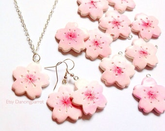 Sakura jewelry set Sakura necklace Cherry blossom earrings Pink sakura necklace Flower necklace Sakura earrings Japan style Kawaii jewelry