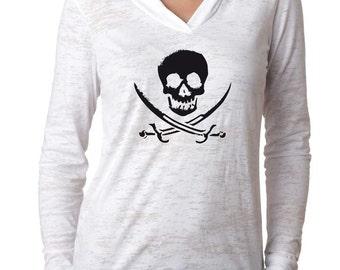Pirate Shirt. Skull Shirt. Gasparilla Shirt. Super Soft & Lightweight, Burnout, V-Neck Hooded Shirt. Women's Skull T-Shirt.