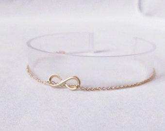 gold dainty infinity bracelet