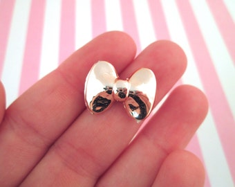 Rose Gold Resin Bow Cabochons, Cute Flatback Ribbon Cabs, pick your amount, #949