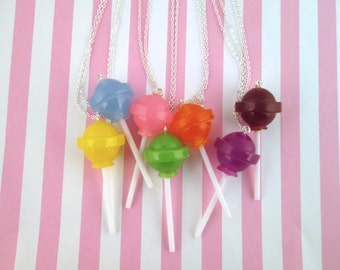 Cute Dum Dum Lollypop Necklace, Cute Kawaii Colorful Faux Candy Jewelry