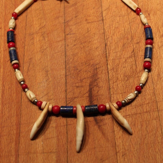 "Wolf Tooth Necklace 18 1/2""  Large Wolf Teeth  Wolf Blue Lapis Bone Red Jade coral Wood African Native American Healing Spiritual Handmade"