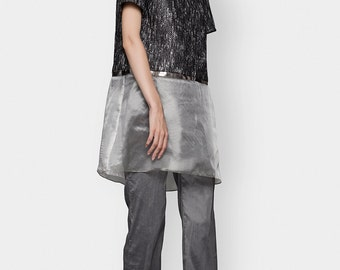 A-lineTextured  Blouse Sheer Top Felt Metallic