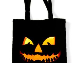 Halloween Pumpkin Smile Trick Or Treat Tote Shoulder Bag