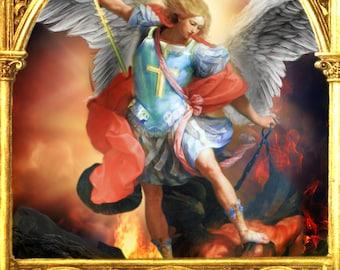 Saint Michael Archangel, St Michael print, Catholic art, Religious art, catholic print, wall decor by Sandra Lubreto Dettori
