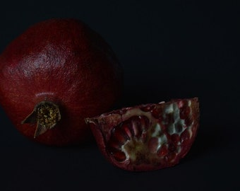 Print of pomegranates against a dark background - fine art photography - fruit still life - kitchen art food print - dark - rustic - minimal