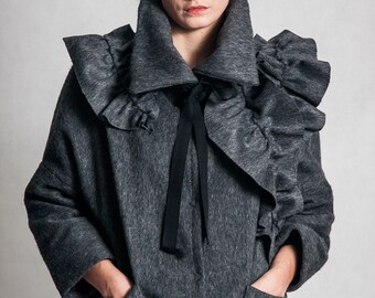 Mouse gray wool lined jacket / Handmade appliques woman's jacket/ Dark gray fashion jacket/ High neck pure wool woman's coat / Fasada 1578