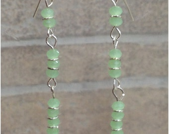 Silver tone sea green glass beaded line dangle earrings