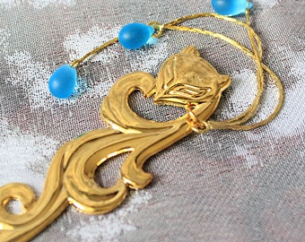 blue hair jewelry gold hair stick fox jewellry for sister gifts for birthday gifts for her hair blue gold body jewelry fox lover gifts шв15