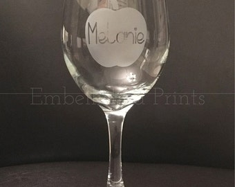 Personalized 20 Ounce Etched Teacher Wine Glass