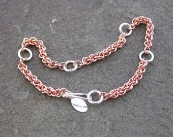 Solid Copper and Silver Bracelet Argentium Silver Jens Pind Bracelet (ASCU09)