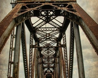 Old Rusty Railroad Train Tracks Bridge Nashville Tennessee Rail Steel Fine Art Photography Architectural Photo Home Decor Vintage Look