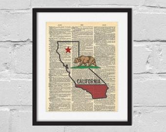 California Print. Dictionary Art Print. California Flag. California Bear.
